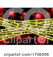 Medical Background With Danger Tape And Abstract Virus Cells