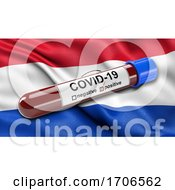 Flag Of Paraguay Waving In The Wind With A Positive Covid 19 Blood Test Tube