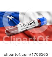 Flag Of Chile Waving In The Wind With A Positive Covid 19 Blood Test Tube