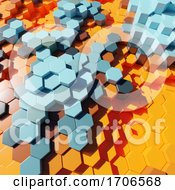 Plastic 3d Hexagonal Orange Abstract Design In Block Format by Steve Young