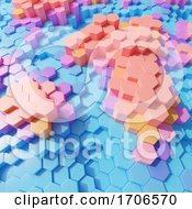 3d Plastic Pastel Hexagon Blocks In Colorful Arrangement by Steve Young