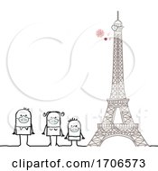 Stick Family Wearing Covid 19 Face Masks By The Eiffel Tower