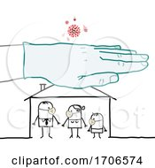 Stick Family Wearing Covid Face Masks And A Gloved Hand Over Their House Protecting Them From The Virus