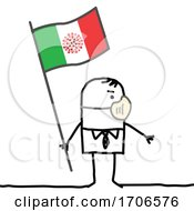 Stick Man Wearing A Covid Face Mask And Holding An Italian Flag