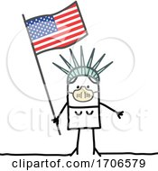 Stick Statue Of Liberty Wearing A Covid Face Mask And Holding An American