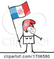 Stick Woman Wearing A Covid Face Mask And Holding A French Flag