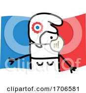 Stick Woman Wearing A Covid Face Mask Over A French Flag