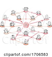 Stick People Wearing Covid Face Masks In A Network