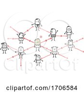 Stick People Showing A Network Of Infection