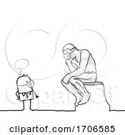 Stick Man Wearing A Covid Face Mask And Looking At The Thinker Sculpture