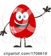 Poster, Art Print Of Red Easter Egg Mascot Waving