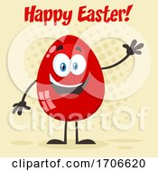 Poster, Art Print Of Red Egg Mascot Waving Under Happy Easter Text