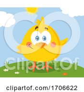 Poster, Art Print Of Yellow Easter Chick On A Sunny Day