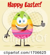 Poster, Art Print Of Colorful Egg Mascot Giving A Thumb Up Under Happy Easter Text