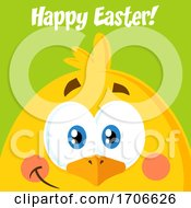 Poster, Art Print Of Yellow Chick With Happy Easter Text