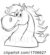Cartoon Black And White Happy Horse Head