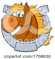 Cartoon Happy Horse Head In A Horseshoe