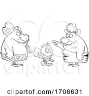 Poster, Art Print Of Cartoon Black And White Cave Family Talking