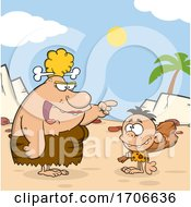 Poster, Art Print Of Cartoon Cave Woman Teaching Her Son About A Club