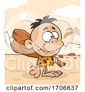 Poster, Art Print Of Cartoon Cave Boy With A Club