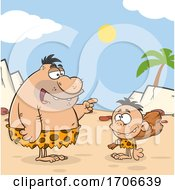 Poster, Art Print Of Cartoon Caveman Dad Teaching His Son About Clubs