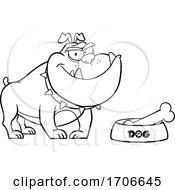 04/11/2020 - Cartoon Black And White Bulldog By A Dish With A Bone