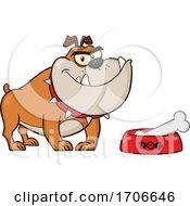 04/11/2020 - Cartoon Bulldog By A Dish With A Bone