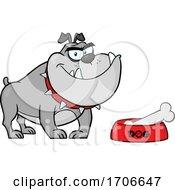 04/11/2020 - Cartoon Gray Bulldog By A Dish With A Bone