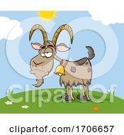 04/12/2020 - Cartoon Grumpy Goat On A Sunny Day