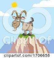 Cartoon Grumpy Goat On A Mountain