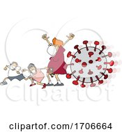 Cartoon Mother And Children Wearing A Mask And Running From Viruses
