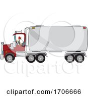 Cartoon Male Trucker Wearing A Mask And Backing Up A Truck