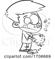 Cartoon Boy Washing His Hands Really Good