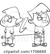 Cartoon Boy And Girl Social Distancing
