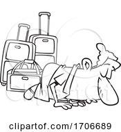 Cartoon Male Traveler Kissing The Ground