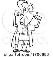 Cartoon Super Nurse Flexing