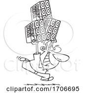Cartoon Coronavirus Pandemic Toilet Paper Hoarder