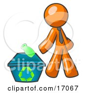 Orange Man Tossing A Plastic Container Into A Recycle Bin Symbolizing Someone Doing Their Part To Help The Environment And To Be Earth Friendly Clipart Illustration by Leo Blanchette