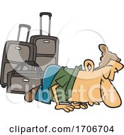Cartoon Male Traveler Kissing The Ground