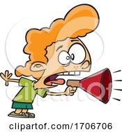 Cartoon Girl Screaming Through A Megaphone