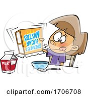 Cartoon Girl Shaking An Empty Box Of Cereal