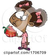 Cartoon Girl Eating A Strawberry