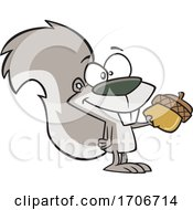 Cartoon Squirrel Giving An Acorn