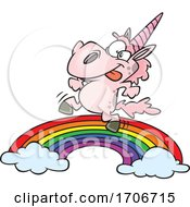 Cartoon Pink Unicorn Dancing On A Rainbow