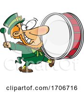 Cartoon Leprechaun Playing A Marching Drum