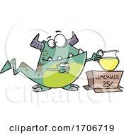 Cartoon Monster Selling Lemonade