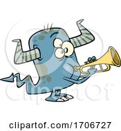 Cartoon Monster Playing A Trumpet