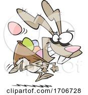 Cartoon Easter Bunny Bandit Stealing Eggs