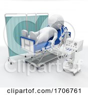 3D Morph Man On Hospital Bed With Respirator