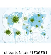 Medical Background With Virus Cells On A World Map by KJ Pargeter